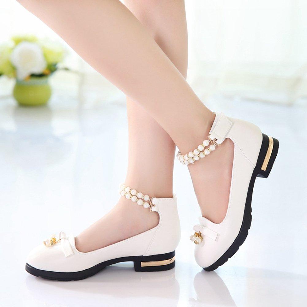 CYBLING Girls Mary Jane Princess Low Heels Strap Shoes Kids Toddler School Uniform Flat Dance Shoe White