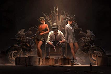 Postere Official PUBG Player Sitting On Winner's Chair with Girls