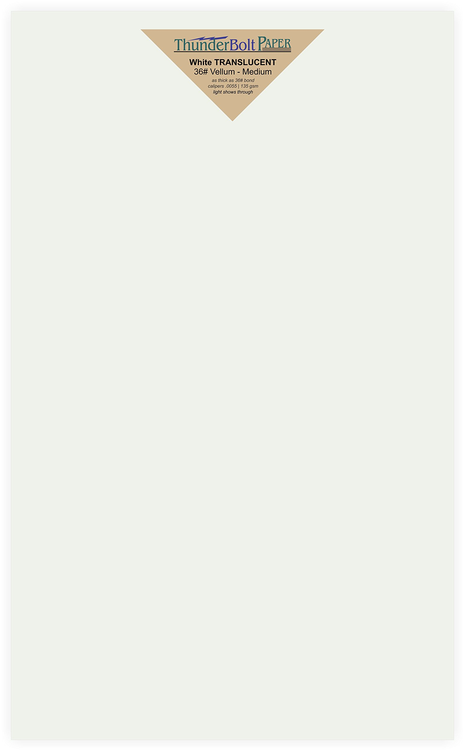 150 Soft White Translucent - 36# (36 lb/pound) Medium thick - 8.5 X 14 Inches Legal|Menu Size - Heavier Weight Vellum Sheets Quality Paper for Fine Results - Fun|Formal - Not a Clear Transparent