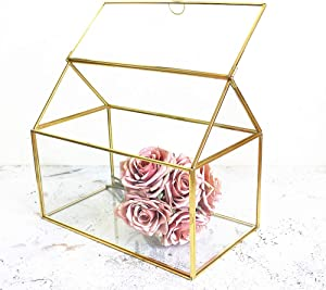Golden House Shape Glass Wedding Card Box Candle Holders Glass Gift Boxes Terrarium Card Holder Perfect for Centerpiece Decor,Wedding Receptions, Planter Holder, Gift & Display Box