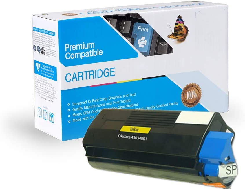C3200 C3200N Yellow Works with: C3100 C3100N Print.After.Print Compatible Toner Replacement for Oki-Okidata 43034801