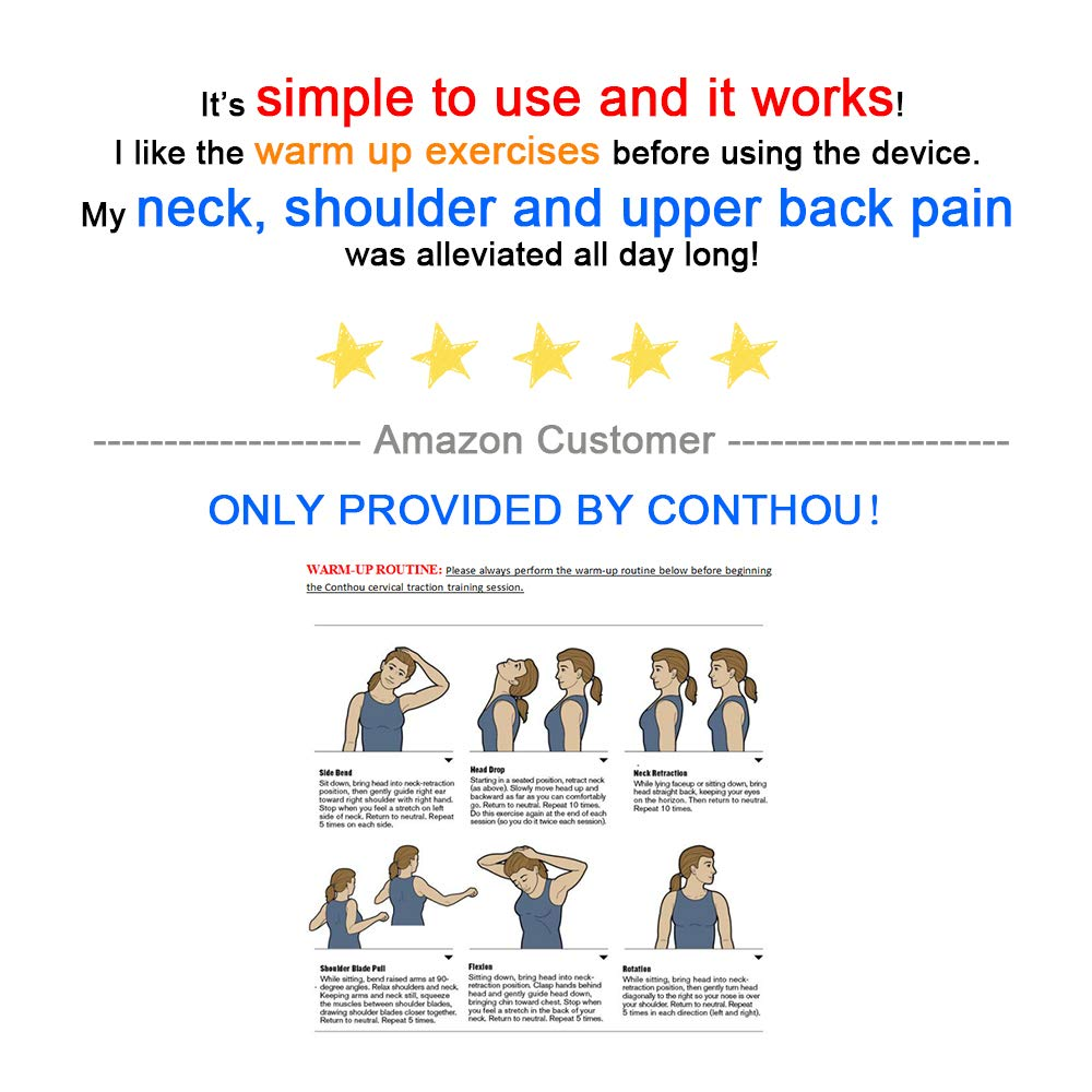 Conthou Cervical Neck Traction Device for Neck and Shoulder Pain Relief, Portable Cervical Orthotic Pillow- Adjustable Height with Removable and Washable Cover by Conthou (Image #8)