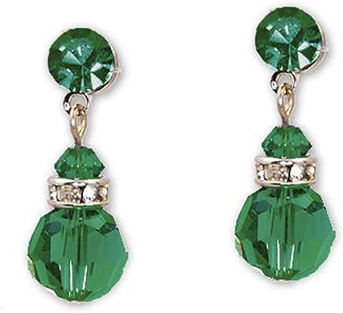 Verde Esmeralda Cristal Plata 925 Colgantes Pendientes De Hecho Con Swarovski Elements