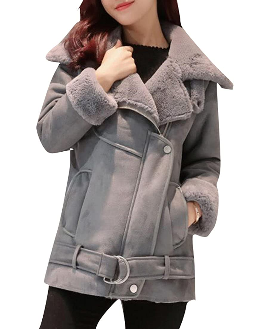 LD Womens Thicken Faux Suede Sherpa Lined Down Coat Jacket Outwear