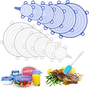Silicone Stretch Lids, 12Pcs Silicone Covers for Bowls+A Silicone Basting Brush, Fit Different Sizes Shapes of Container Reusable Durable Food Storage Lid and Expandable Lids to Keep Food Fresh
