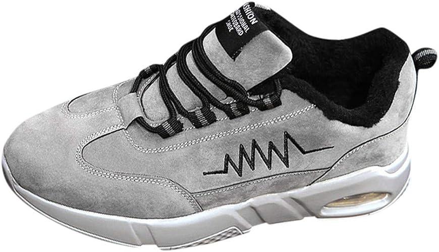 Dnliuw Hombres Moda Terciopelo Deportes Zapatillas Hombre Zapatillas de Correr Cordones Calentar Calzado de Ciclismo Exterior Deportes Transpirables Deportivas, Color Gris, Talla 40 EU: Amazon.es: Zapatos y complementos