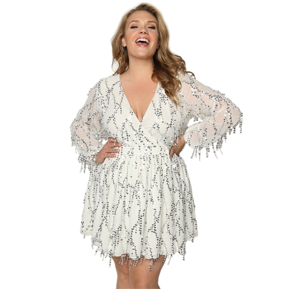 60s 70s Plus Size Dresses, Clothing, Costumes Astra Signature Womens Plus Size Deep V-Neck Sequin Beaded Fringed Mini Dress Cocktail Party Club Evening $89.99 AT vintagedancer.com