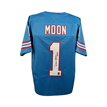 Image Unavailable. Image not available for. Color  Warren Moon HOF  Autographed Houston Oilers Custom Blue Football Jersey ... 42084fba9