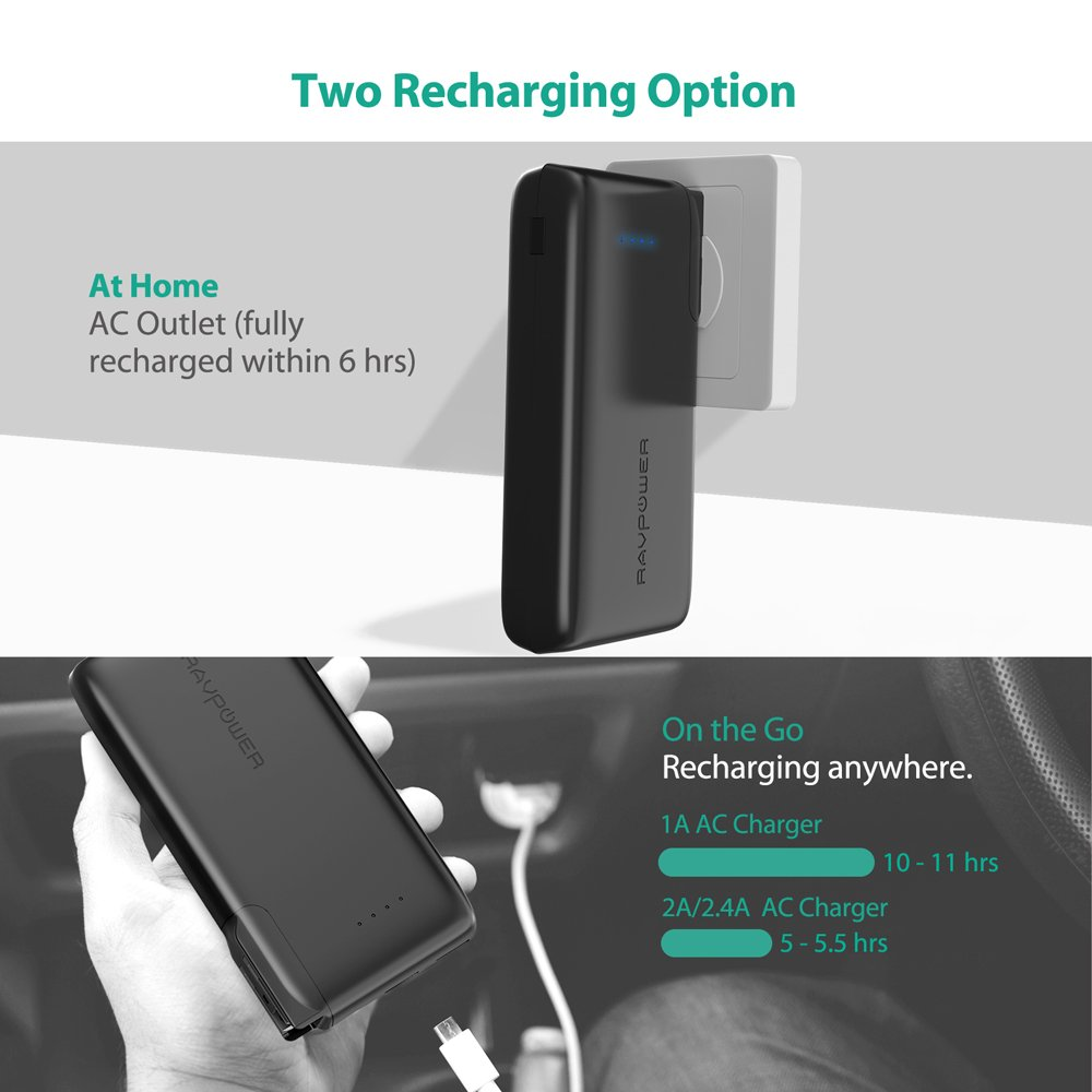 Portable Charger 10000 RAVPower 2-in-1 Wall Charger and Power Bank, 10000mAh Capacity with AC Plug, Dual iSmart 2.0 USB Ports, 3.4A Max Output for iPhone X, iPhone 8, iPad, Samsung Galaxy and More by RAVPower (Image #3)