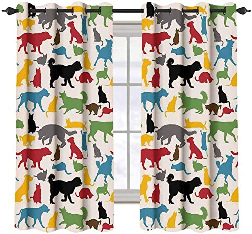 Kids 2 pcs 52×36 Blackout Drapes,Colorful Cats and Dogs Animal Silhouettes Domestic Pets Cartoon Canine Characters Grommet Top Window Treatment Blackout Panel Curtain for Small Window,Multicolor