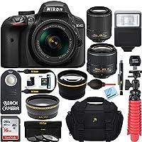 Nikon D3400 24.2MP DSLR Camera w/AF-P 18-55 VR & AF-S 55-200mm VR II Dual Lens Accessory Bundle - (Certified Refurbished) (Black)