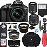 Nikon D3400 24.2MP DSLR Camera w/AF-P 18-55 VR & AF-S 55-200mm VR II Dual Lens Accessory Bundle - (Certified Refurbished) (Black)