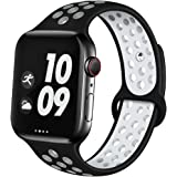 Prime Retail Silicon Sport Watch Band Strap Belt Compatible with Apple Watch Series 5 4 3 2 1 (38mm/40mm) - Black White