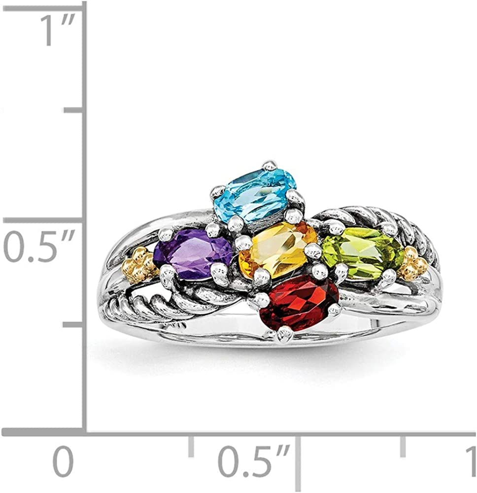 Family Celebration Mountings Sterling Silver and 14k Five-stone Mothers Ring Mounting Size 8