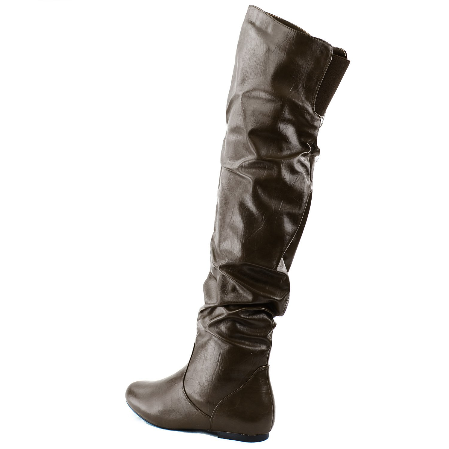 DailyShoes Womens Fashion-Hi Over-the-Knee Thigh High Flat Slouchly Shaft Low Heel Boots