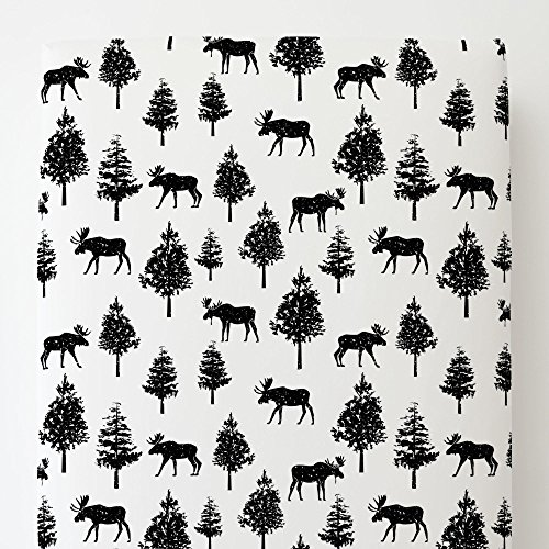 Moose Black Onyx - Carousel Designs Onyx Moose Toddler Bed Sheet Fitted