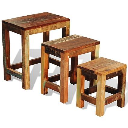 Festnight Set Of 3 Nesting End Side Table Reclaimed Wood Night Stand Corner  Table Antique