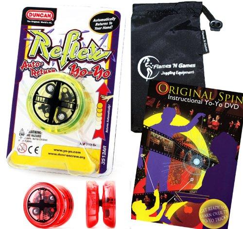 Duncan Reflex (Auto-Return) YoYo (Green) Professional YoYo with Travel Bag + 75 Yo-Yo Tricks DVD! Pro YoYos For Kids and Adults (Reflex Pro Clutch)