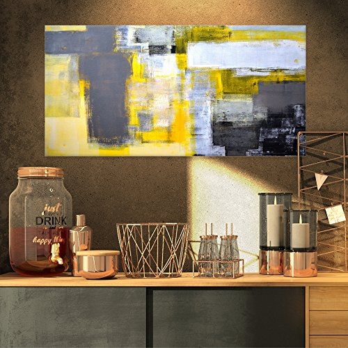 Grey and Yellow Blur - Canvas Art Print, Yellow
