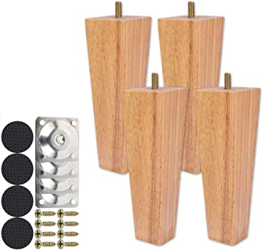 10CM Height Sofa Legs Wooden Furniture Legs,Set of 4 Height Wood Sofa Legs Solid Replacement Furniture Armchair Cabinet Feet Legs Straight Wood Color for Ottoman Couch Dresser Black