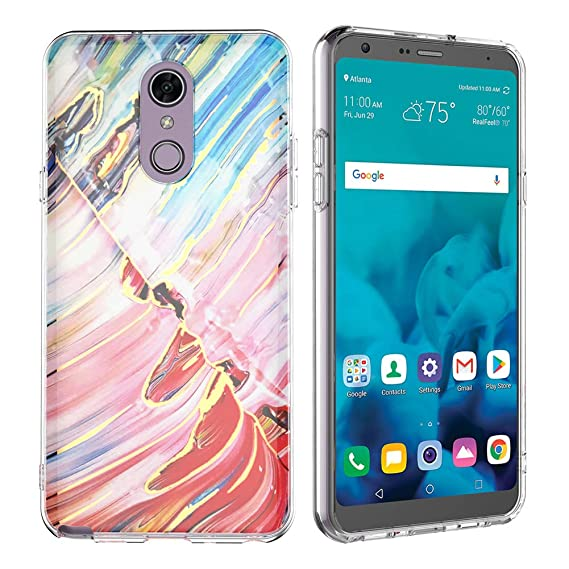 big sale 1c6fb f90bf LG Stylo 4 Case, LG Q Stylus Case, ANLI Slim Fit Fashion Interesting  Rainbow Marble Clear TPU Protective Case