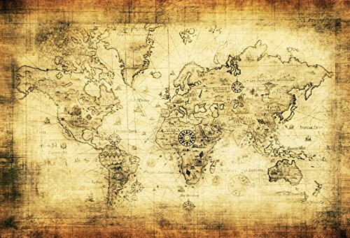 LFEEY 5x3ft Old World Map Backdrop Kids Children Baby Adults Portrait Photo Shoot Vintage Ancient Parchment Earth Atlas Photography Background Photo Studio Props ()