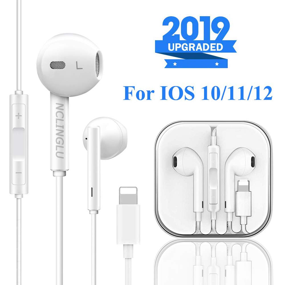 NCLINGLU Earbuds Headset Wired Earphones Headphone with Microphone and Volume Control, Compatible with iPhone 11 11Pro Max XS Max XR X 8 Plus 7 and iOS 10 11 12 White