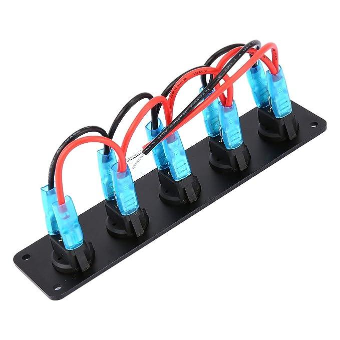 nero Interruttore a bilanciere a 5 gang 12V per interruttori di bordo per auto marine Interruttore di protezione per interruttori a bilanciere a LED protetto da sovraccarico
