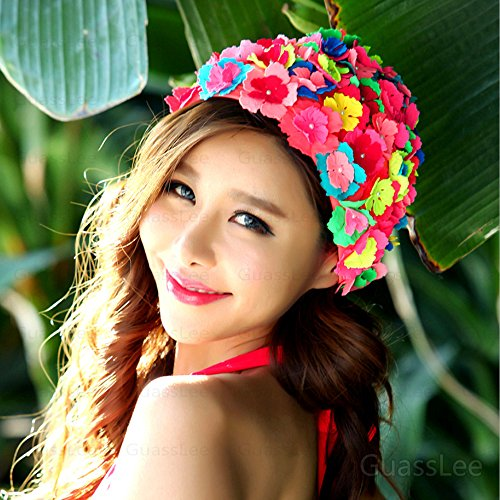 - GuassLee Swimming Hat Floral Petal Retro Style Flower Bathing Cap For Women - Red