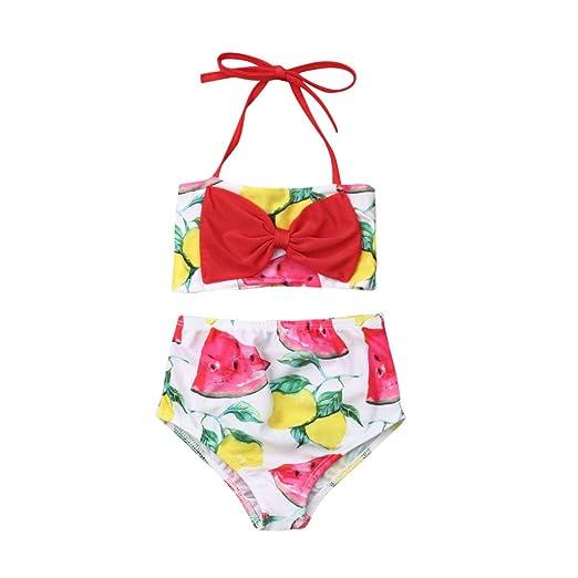 46a45eaa86ba8 Amazon.com: Toddler Infant Kid Baby Girls Swimwear Watermelon Lemon  Swimsuits Halter Bikini Set Bowknot Beachwear: Clothing