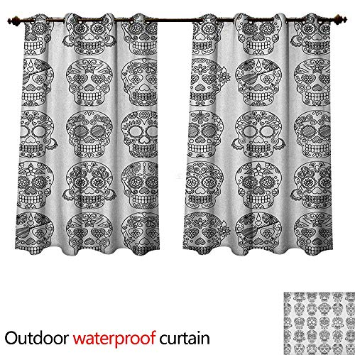 Anshesix Mexican Home Patio Outdoor Curtain Latin American Day of The Dead Skull Designs with Floral Inspirations Celebration W55 x L45(140cm x 115cm) ()