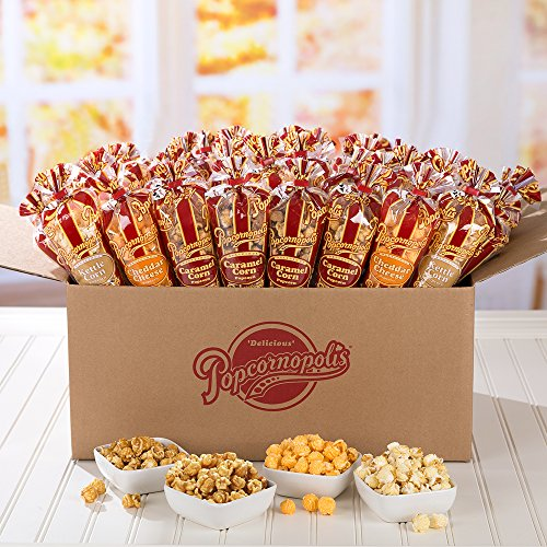 Popcornopolis Gourmet Popcorn Mini cone 24 pack - Classic Including Caramel Corn, Cheddar Cheese and Kettle Korn