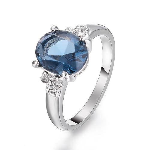 più alla moda vendita calda reale ultima vendita Yoursfs - Anello con zaffiro, forma: ovale, colore: Blu ...