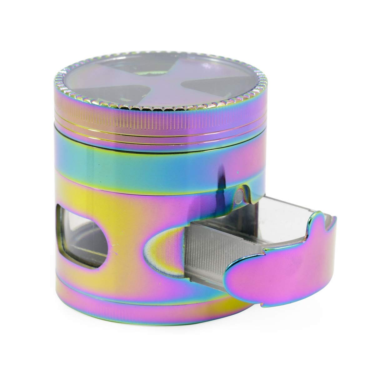 Yzyamz Herb Grinder Zinc Alloy Four Layer Ice Blue Signal Toothed Drawer Window 3 Leaf Colorful Grinder Portable Manual Grinder Bench Grinder, 2.5in'' (63Mm) by Yzyamz