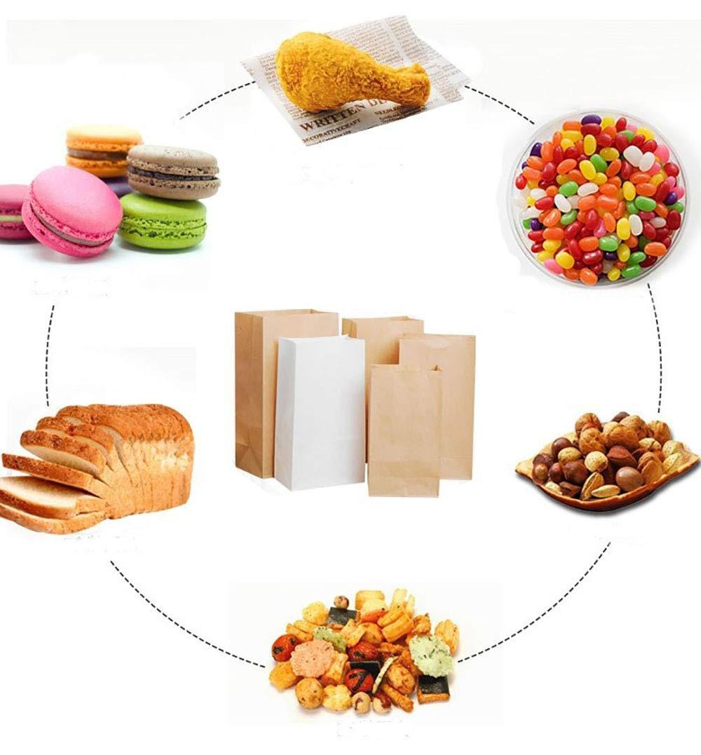 R/ésistant /à lhuile meridy Sacs Alimentaires en Papier Kraft,Emballage Sandwich /à Hamburger,Sacs /à Lunch Durable,Papier Brun,Sacs /à Collation,Sacs /à Pain,18x9x5.5cm 100pcs