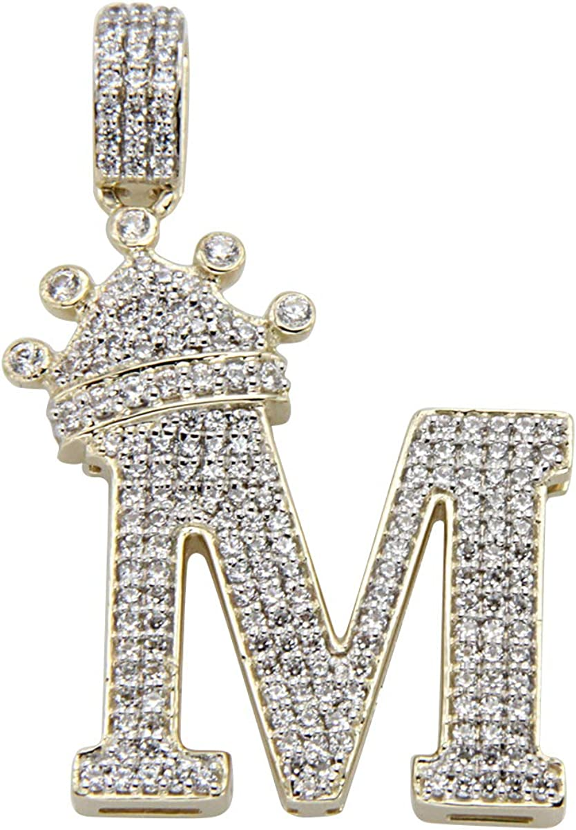Men/'s 925 Silver Created Diamond 14k Gold Finish CROWN Pendant Rope Chain Italy