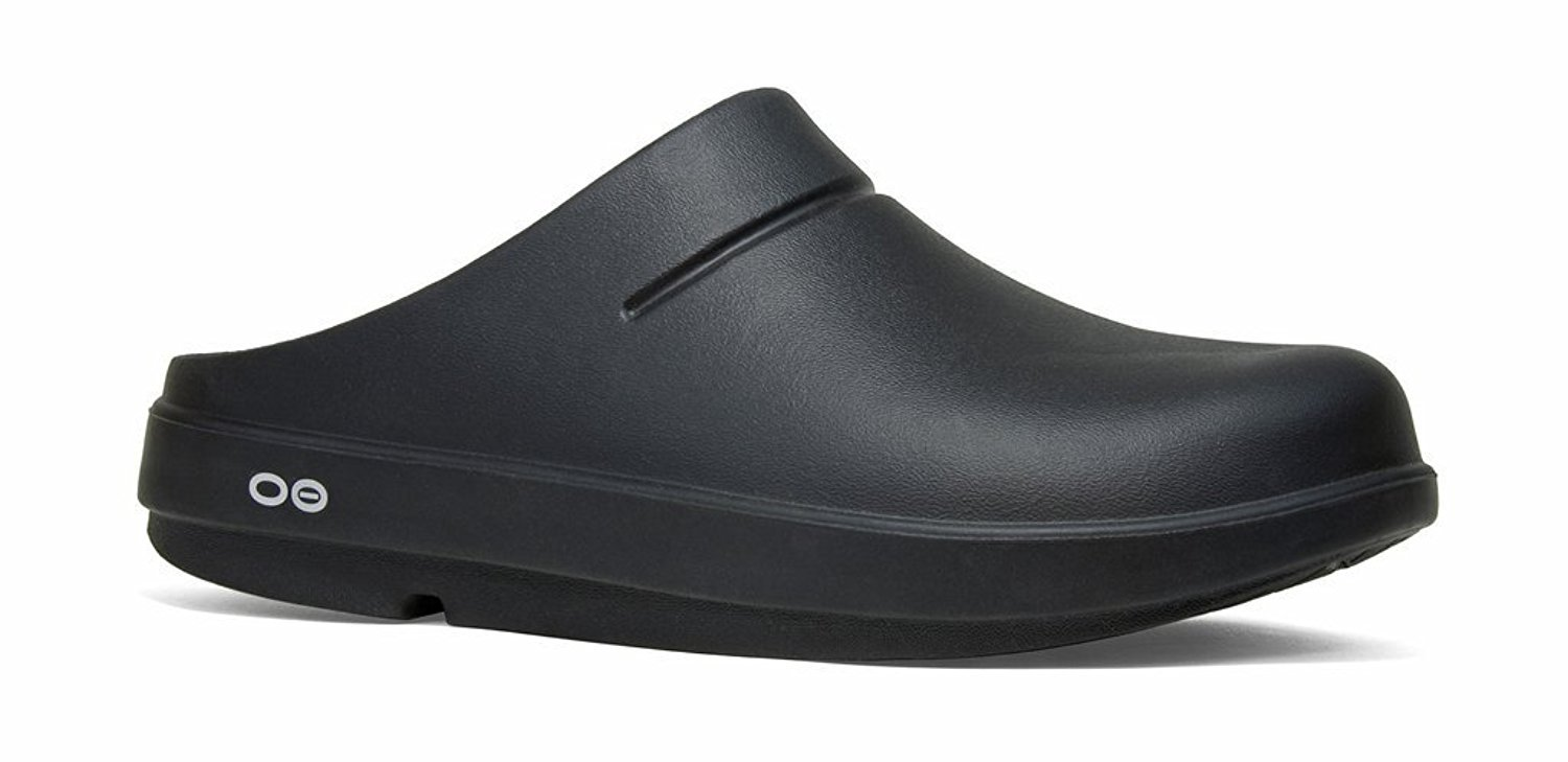 OOFOS Unisex OOcloog Clog Mule, Black/Matte Finish, Men's 11 Women's 13 US