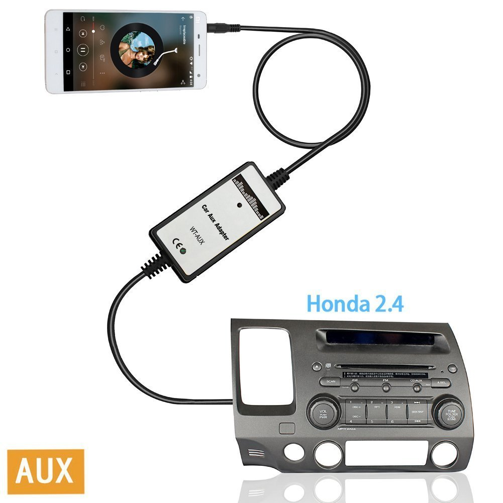 Moonet WEX093 Honda 3.5mm MP3 Aux-in Adapter Audio Input Auxiliary Fits Accord Civic CRV Element Odyssey Pilot Fit S2000