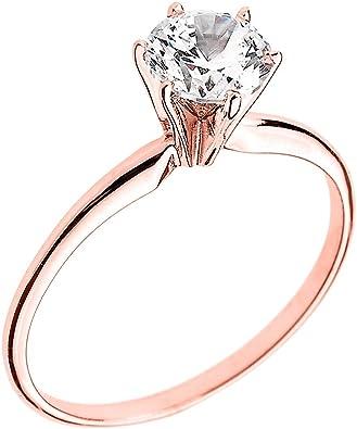 10k Rose Gold Elegant Cubic Zirconia Solitaire Engagement Ring Amazon Com