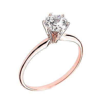 50d314031da 10k Rose Gold Elegant Cubic Zirconia Solitaire Engagement Ring