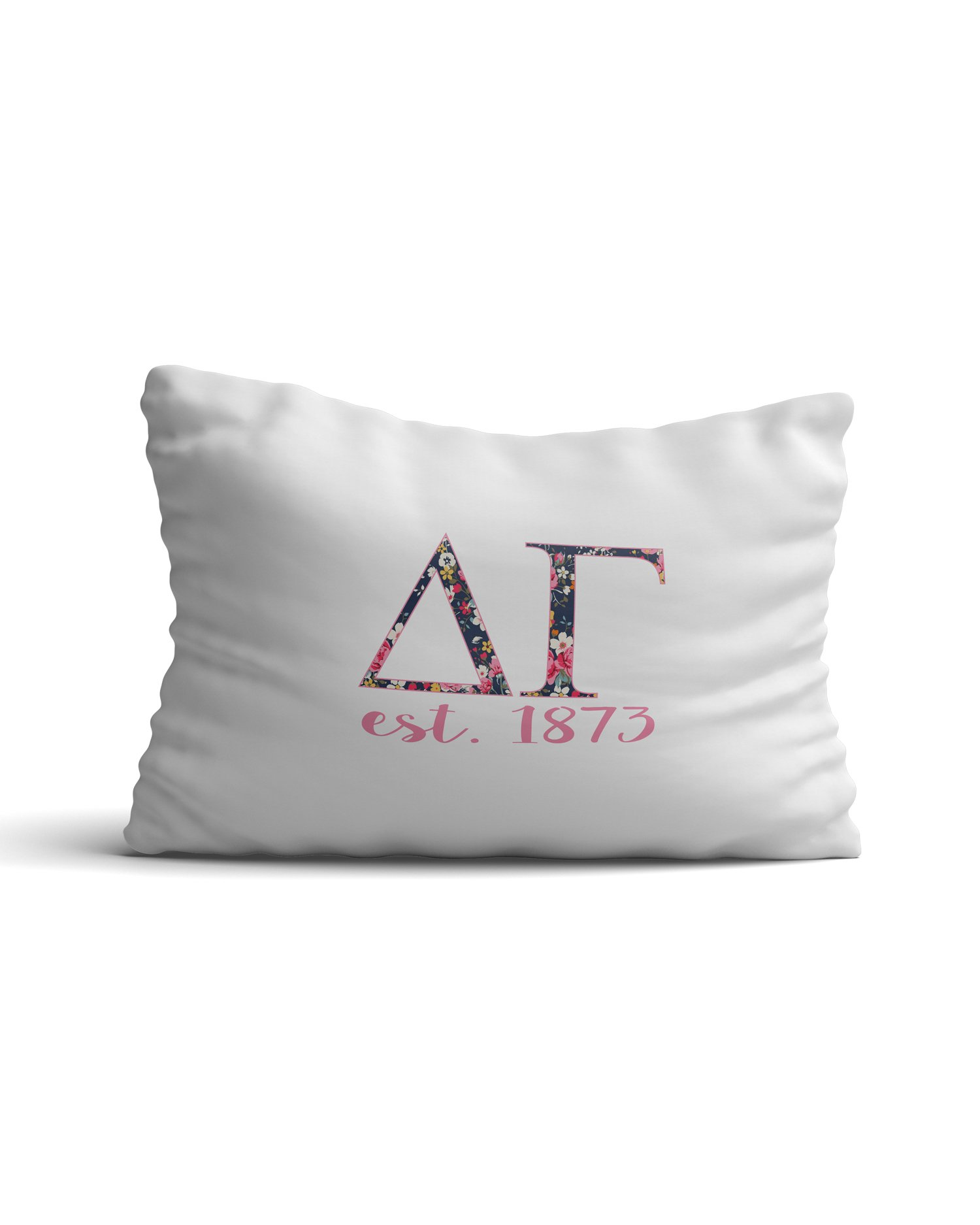 Desert Cactus Delta Gamma Sorority Floral Letters with Founding Year Pillowcase 300 Thread Count 100% Cotton DG