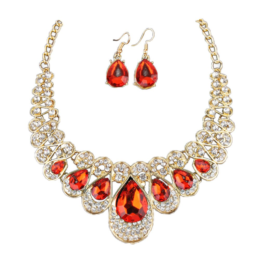 Necklace Chain Extender,Women Fashion Crystal Necklace Jewelry Statement Pendant Charm Chain Choker,Red