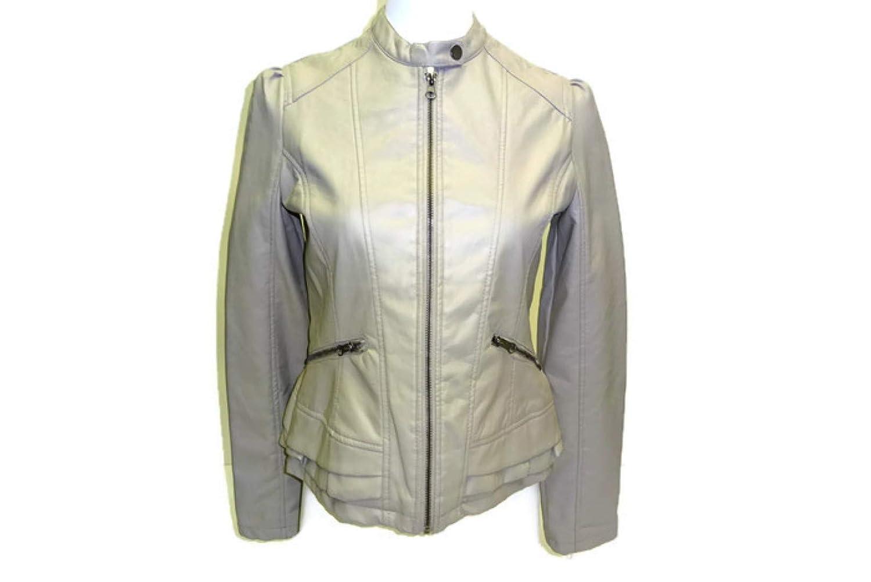 Maralyn & Me Women's Faux-Leather Jacket, Stone Junior's Medium Stone Junior's Medium 6322ME