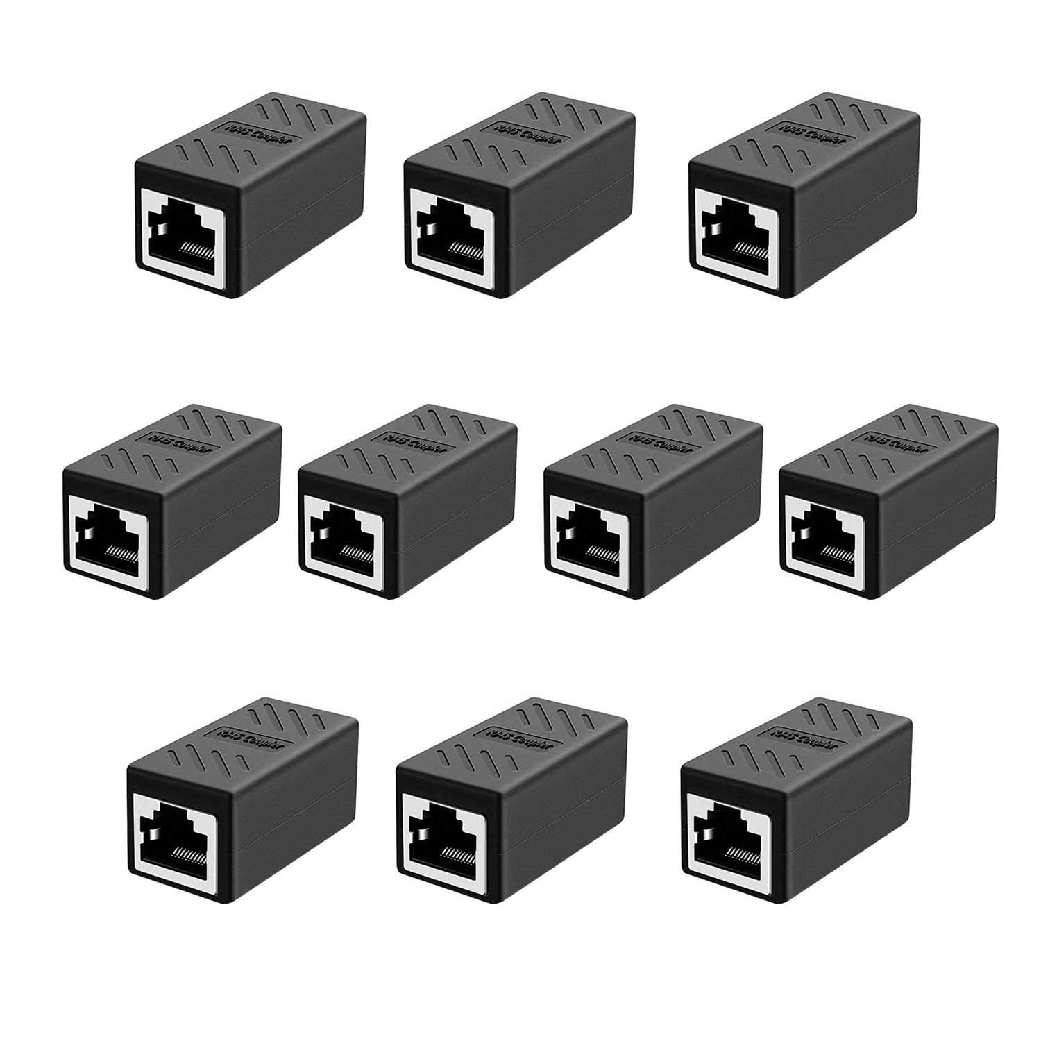 Smalloo RJ45 Coupler Cat8 Cat7 Cat6 Cat5e 1 to 1 LAN Ethernet Cable Extender Adapter Female to Female(10Pack): Industrial & Scientific