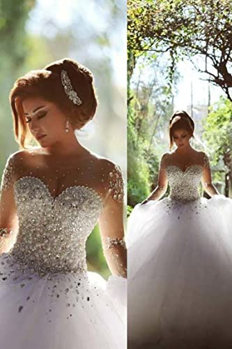 Gorgeous Crystal Bridal Gown Durchschauen Long Sleeve Perlen ...