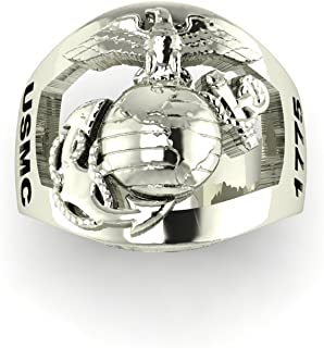 product image for Continuum Sterling Silver USMC Men's Ring with Open Back Eagle Globe and Anchor with USMC and 1775 on Sides MR40