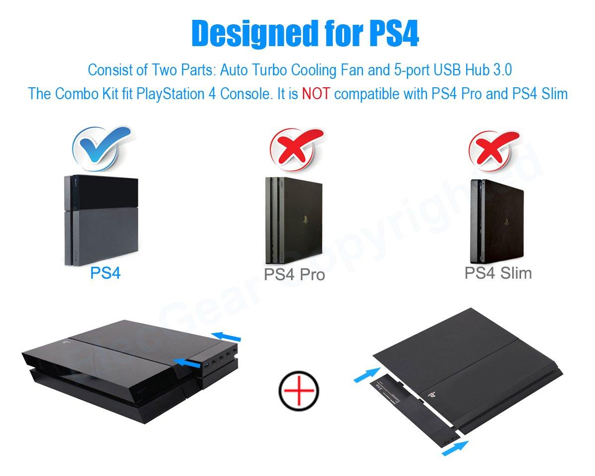 PS4 Ventilador de Refrigeración & Hub USB 3.0 5-Puertos - ElecGear Ventiladores de Control De La Temperatura, USB Extension Adaptador con 5 Luces del ...