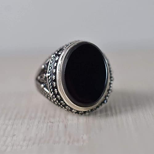 Free Shipping Black Onyx Ring Sterling Silver 925 Handmade Natural Black Onyx Oval Ring
