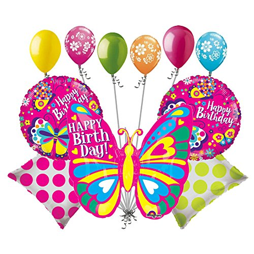 Happy Birthday Butterfly Balloons (11 pc Bright Colorblast Pink Happy Birthday Butterfly Balloon Bouquet Decoration)