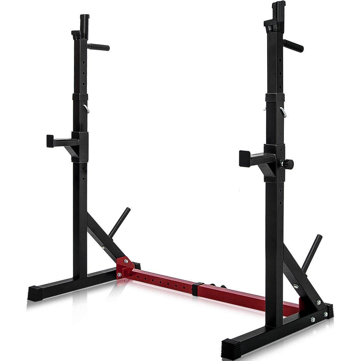 Merax Barbell Rack 550LBS Max Load Adjustable Squat Stand Dipping Station Gym Weight Bench Press Stand (Black/Red) by Merax